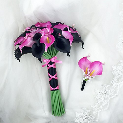 Lily Garden Luxury Calla Lily Bridal Wedding Bouquet 3 Dozen with Groom Boutonniere (Black and Hot Pink)