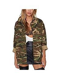 Women's Military Camouflage Camo Jacket Denim Coats Cotton Parka