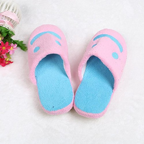 Amiley Women Plush House Floor Soft Smile Scuffs Slipper Cotton-padded Shoes Pink 8d3K3Sq