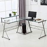 Glass Desk Office Wood Mecor Lshaped Corner Computer Desk With Shelf Stand Glass Laptop Pc Amazoncom Amazoncom Glass Desks Workstations Office Furniture