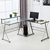 Mecor L-Shaped Corner Computer Desk Shelf & Stand Deal (Small Image)