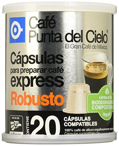 Café Punta del Cielo Capsulas Express Café Robusto Lata, 86.3 gr, Paquete de 20 Piezas