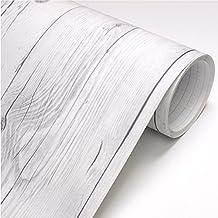 ROSEROSA Peel & Stick Backsplash Vintage White Wood Panel Pattern Contact Paper 22344 : 1.64 Feet X 9.84 Feet