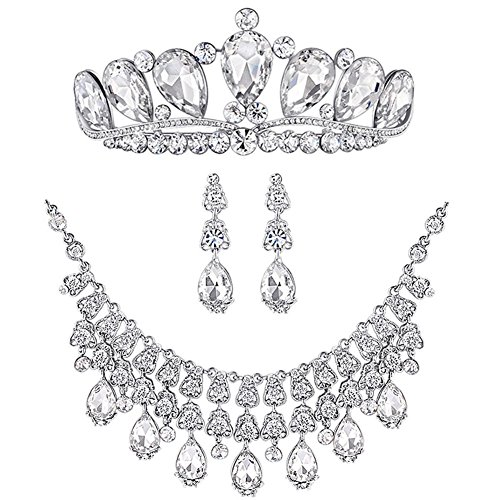 - Bella-Vogue -Bridal Jewelry Sets Silver Crystal Rhinestone Earrings & Necklace & Tiara Crown-NO.284