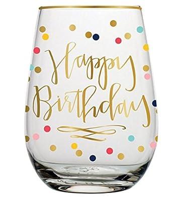 Slant Collection 20oz Stemless Wine Glass Happy Birthday