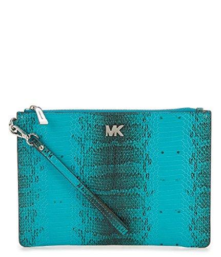 Michael Kors Snake-Embossed Zip Pouch - Tile Blue