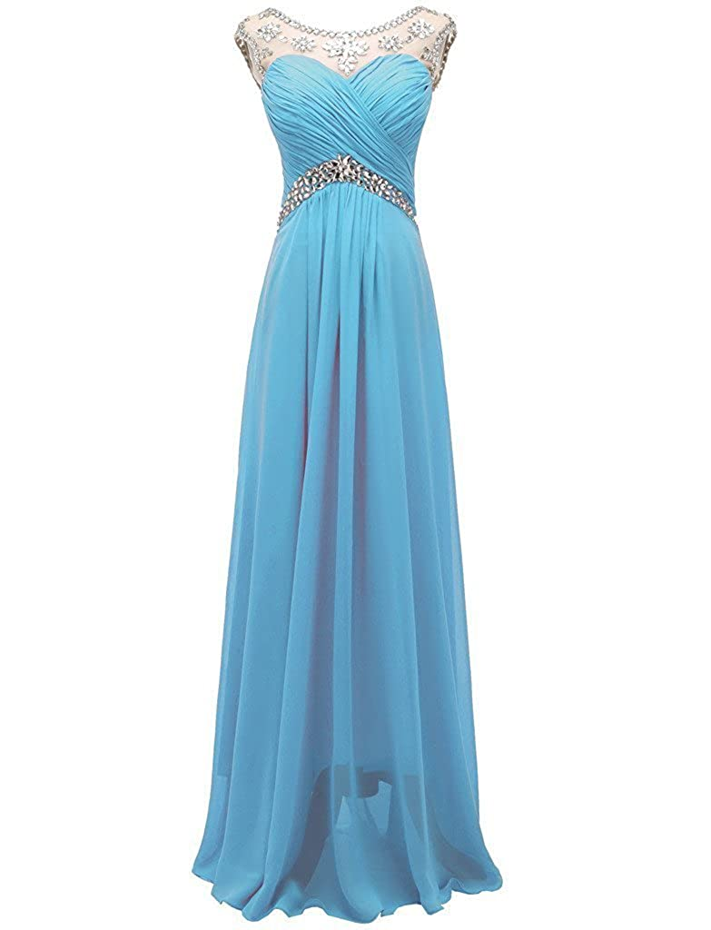 bluee APXPF Women's Crystals Evening Bridesmaid Dress Bride Party Prom Gown