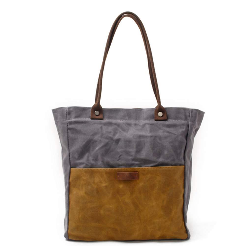 Mode dam vax kanvas handväska väska axelväska med dubbel användning väska messengerdesign för kvinnor flickor studenter Grått