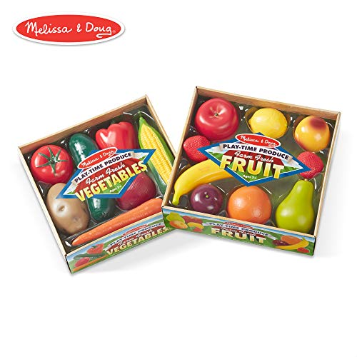 (Melissa & Doug Play-Time Produce Fruit (9 pcs) and Vegetables (7 pcs) Realistic Play Food)