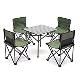 Seatopia Portable Camp Chairs Table Set,4 Chairs + 1 Table,Compact Size for Camping, Travelling, BBQ