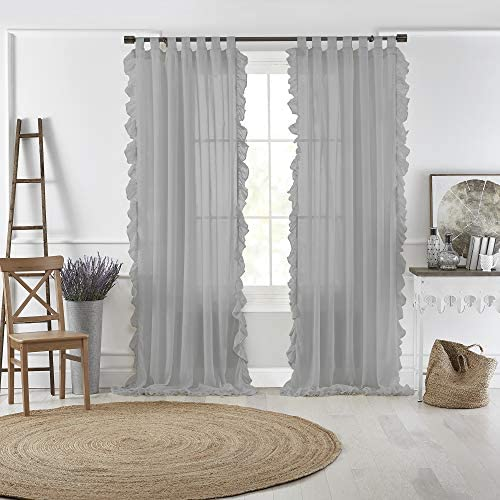 Elrene Home Fashions Bella Tab-Top Ruffle Sheer Window Curtain Panel
