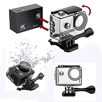 Hiearcool H9 Action Camera 4k Ultra Hd 12mp Wifi Sport Cam Waterproof Underwater 30m, Dual 2inch Lcd Display, 170° Wide Angle Lens - 25 Accessories Kits 2
