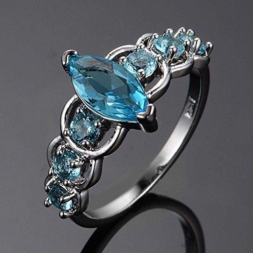 Aquamarine Marquise - A.Minnymin 510mm Marquise Cut Sky Blue Aquamarine 925 Solid Silver Gemstone Wedding Ring (8)
