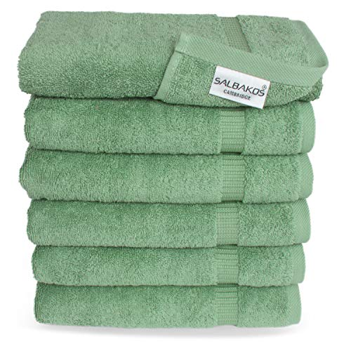 SALBAKOS Luxury Hotel & Spa Collection Towels - 100% Turkish Cotton - Made in Turkey - 4 Colors to Choose from- 700gsm Plush (Green, Hand Towel - Qty 6) (Pottery Clearance Bath Rugs Barn)