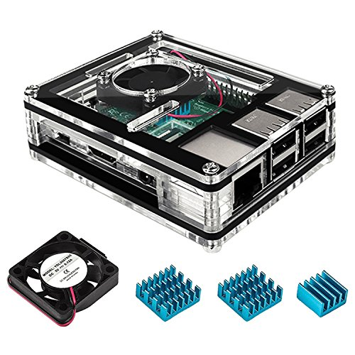 Miuzei Case for Raspberry Pi 3 with Cooling Fan and 3×Aluminum Heatsinks for Raspberry Pi 3/ 2/ 3 Model B/ 2 b (Raspberry Transparent)