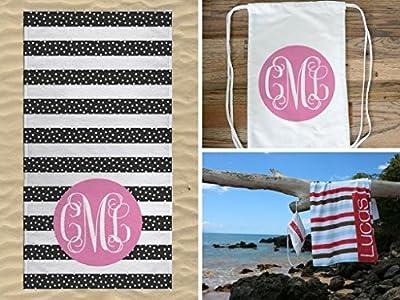 Monogrammed Beach Towel and Bagpack, Cute Beach Towel and Personalized Drawstring Backpack, Personalized Bags for Girls with Kids Beach Towel, Pool Bag for Kids Beach Towel Bundle