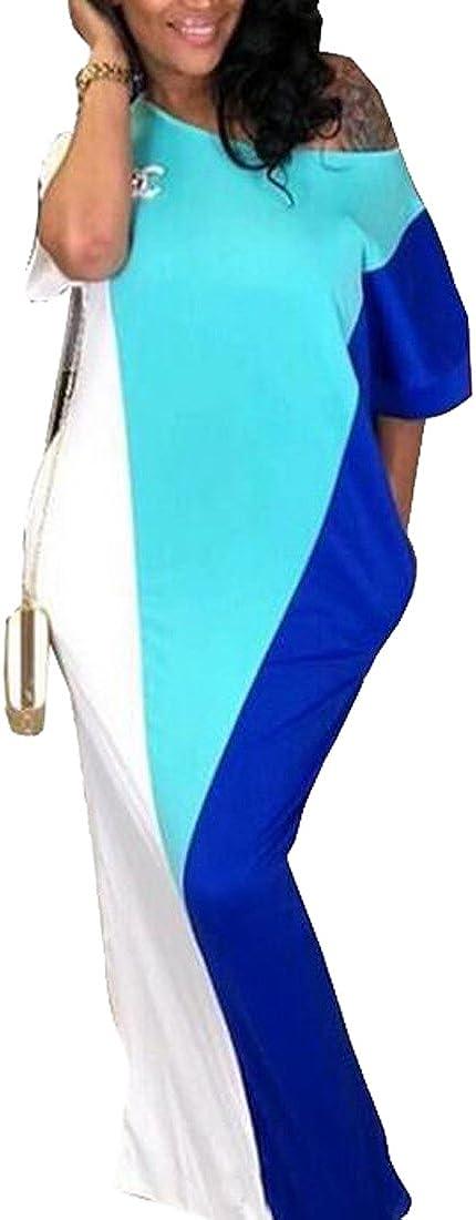 Fubotevic Womens Regular Fit Short Sleeve Color Block Summer Beach Party Maxi Dress