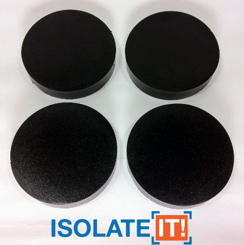 """Isolate It: Sorbothane Vibration Isolation Circular Disc Pad .5"""" (1.27cm) Thick x 2.5"""" (6.35cm) Dia. 70 Duro - 4 Pack"""