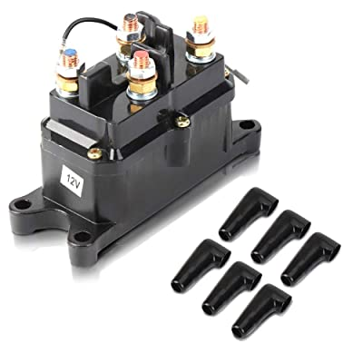 Issyzone 12V 250A Winch Solenoid Relay Contactor, Off-Road Winch Rocker Thumb Switch with 6 Protecting caps for ATV UTV 2000-5000lbs Winch: Automotive