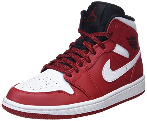 Nike 554724-605 : Mens Air Jordan 1 Mid Gym Red/White/Black Basketball Sneakers (10 D(M) US Men)