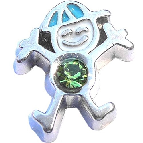 Silvertone Boy Birthstone August Floating Locket Charm (August Boy Charm Birthstone)