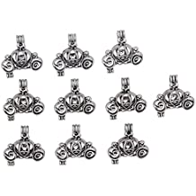 10pcs Pumpkin Carriage Locket Antique Silver Small Pearl Beads Cage Pendant Jewelry Making Necklace DIY