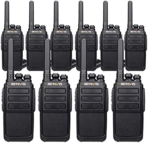 Retevis RT28 Two-Way Radio Long Range Rechargeable UHF FRS Emergency Alarm Handsfree VOX Security Walkie Talkies for Adults USB Charging 10 Pack