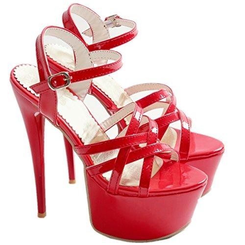 Vestito Partito Tacchi A Tacco Donne Caviglia Alti Open Sandali Da Cinghia Tacchi Rosso Spillo Toe Scarpe Piattaforma Rongzhi qwvS7xEB