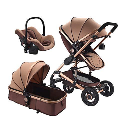 Baby Stroller 3 in 1 Foldable Baby Pram Portable Travel Pushchair Infant Basket car seat Stroller Neonatal Carriage (Best Pushchair Travel System)