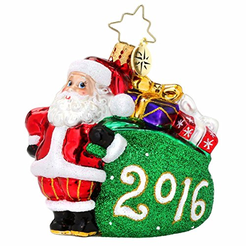 Christopher Radko 2016 Jolly Year Santa Gem Christmas Ornament - 3.5