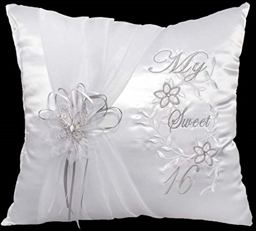 (Quinceanera My Sweet 16 Birthday Embroidered White Pillows - 1pc (Pillow9 Z))