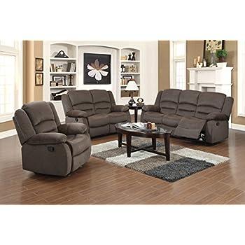 US Pride Furniture 3 Piece Light Brown Fabric Reclining Sofa  Chair    Loveseat Set. Amazon com  US Pride Furniture 3 Piece Light Brown Fabric