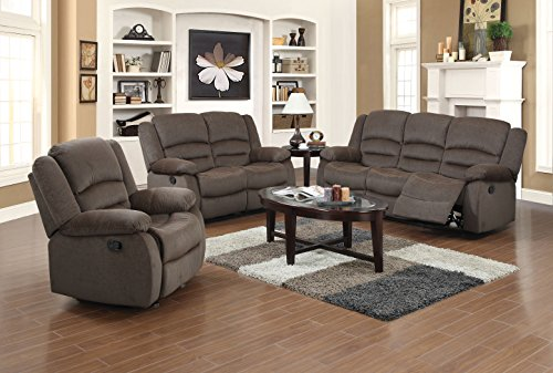 US Pride Furniture 3 Piece Light Brown Fabric Reclining Sofa, Chair & Loveseat Set