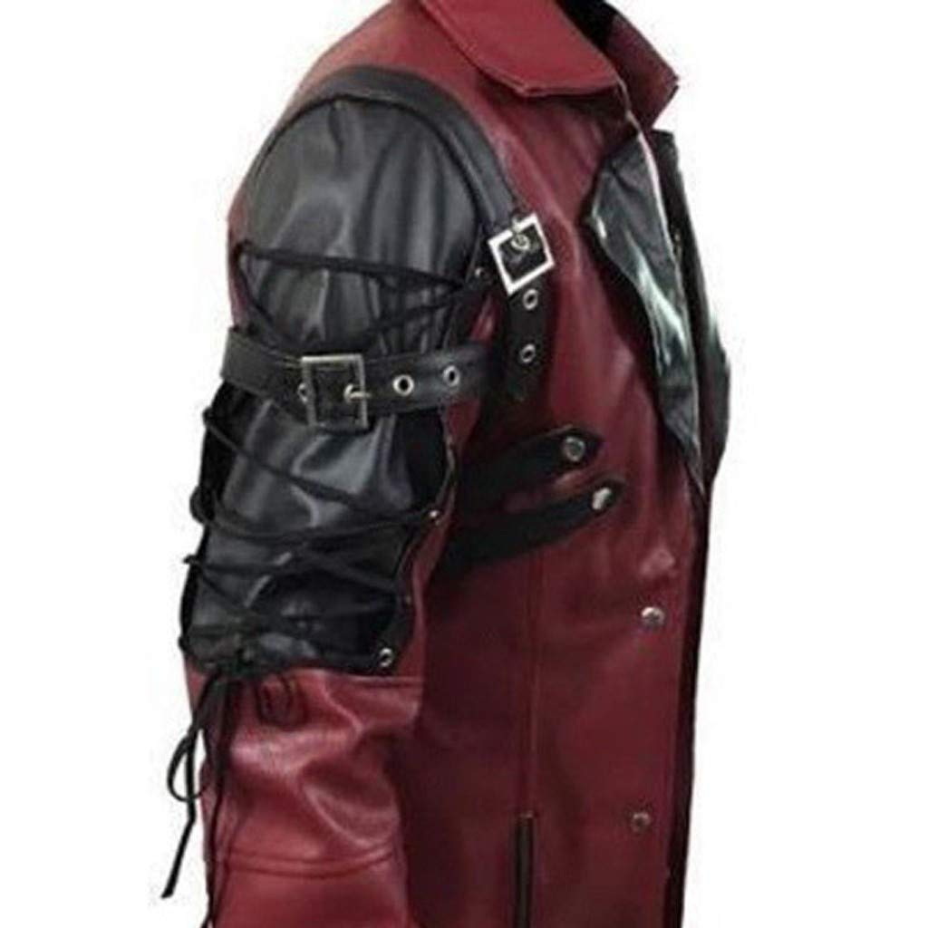 Beppter Men Trench Coat Winter Warm Long Jacket Zipper Overcoat Motorcycle Jacket(Red,US Size M = Tag L)