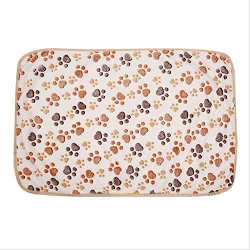 Topshop Warm Pet Mat Small Large Paw Print Cat Dog Puppy Fleece Soft Blanket Bed Cushion (S:15.723.6