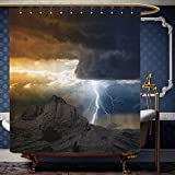 dark grey curtains john lewis Wanranhome Custom-made shower curtain Lake House Bright Lightning Rays from Dark Clouds Hitting Down to the Mountain Storm Theme Grey Orange For Bathroom Decoration 60 x 78 inches