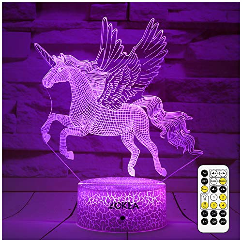 ZOKEA Unicorn Toys Unicorns Gifts for Girls Unicorn Night Light for Kids with Remote & Smart Touch 7 Colors Changing 3D Night Light 2 3 4 5 6 7 8 Year Old Birthday Christmas Unicorn Gifts for Girls