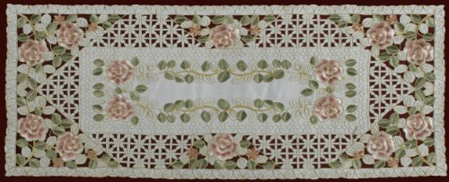 Creative Linens Embroidered Rose Daisy Floral Pastel Table Runner 15x34 Dresser Scarf Ivory Spring ()