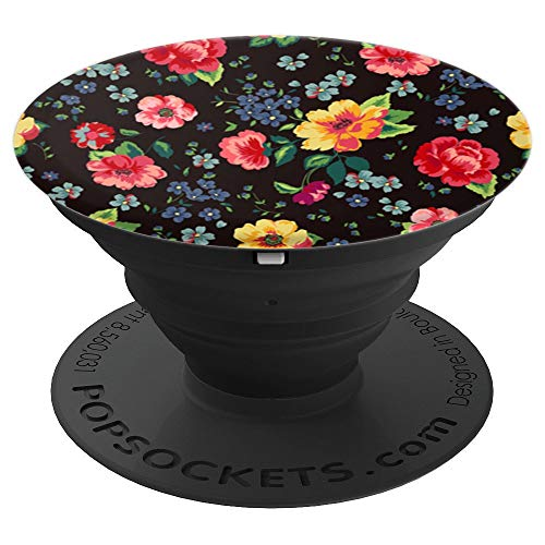 Cute Flower Pattern Black   Beautiful Colorful Rose Floral - PopSockets Grip and Stand for Phones and Tablets