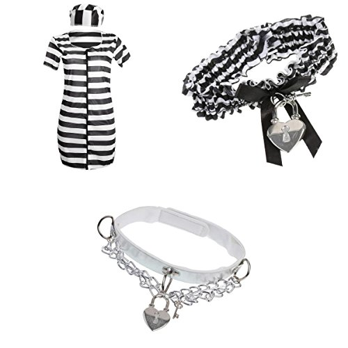 Convict Cutie Halloween Costume (Jili Online Jailbird Cutie Convict Prisoner Inmate Dress Garter Choker Set Cosplay Costume Dress)