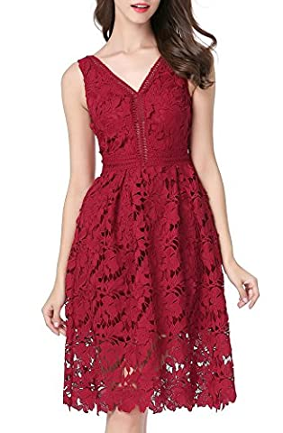 VELLASR Women's Vogue Lace V-neck Chic Cocktail Party Sleeveless Dress (X-Large, Wine red)