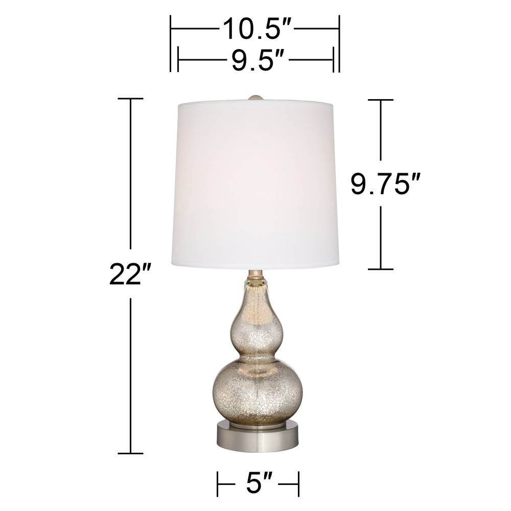 Castine Mercury Glass Table Lamps with USB Port Set of 2 by 360 Lighting (Image #4)
