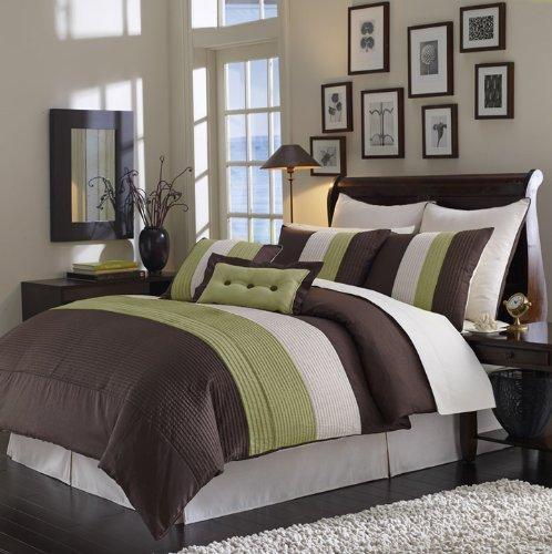 Casa De Andrea Milano Pleated Comforter Set, 8-Pcs, King, Sage