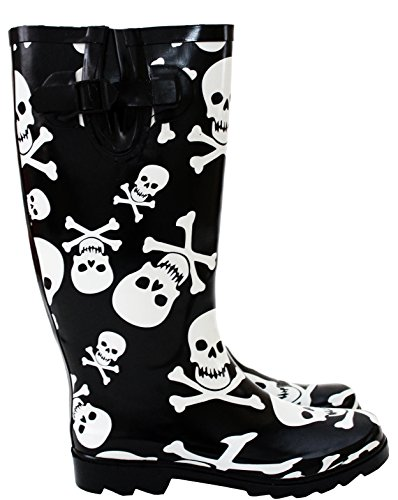 Mud Waterproof Wide Wellington Festival Bones Wellies New Width 3 Snow Calf Skull Maximum 8 UK Calf Boots Rain Adjustable 42 cm UK Womens 8 Ladies zpEq0z