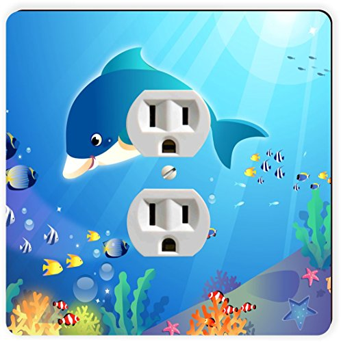 Rikki Knight Dolphin in Water Artistic Deco Single Outlet - Dolphin Outlet
