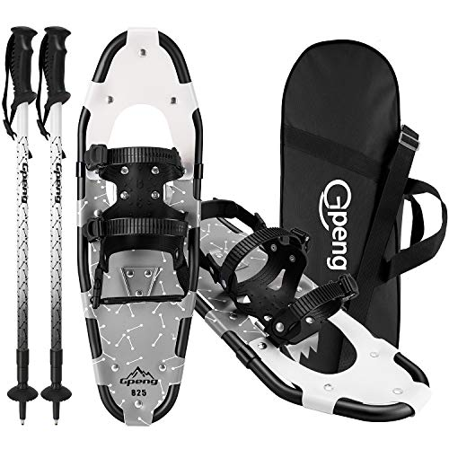 Gpeng All Terrain Snowshoes Snow Shoes 14/21/ 25/27/ 30 Inches for Men Women Youth Kids,Lightweight Aluminum Alloy Snowshoes + Anti-Shock Adjustable Trekking Poles + Carrying Tote Bag