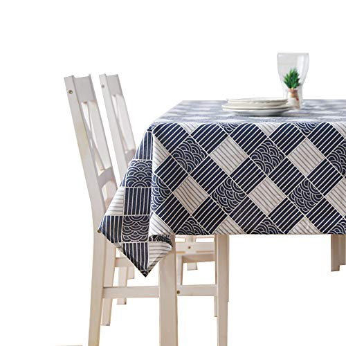 - Japanese Style Rectangle Tablecloth Cotton Linen Blend Navy Blue White Cloth Art Fall Home Dining Room Restaurant Garden Decor Country Rustic Vintage Indoor Outdoor Checker 57