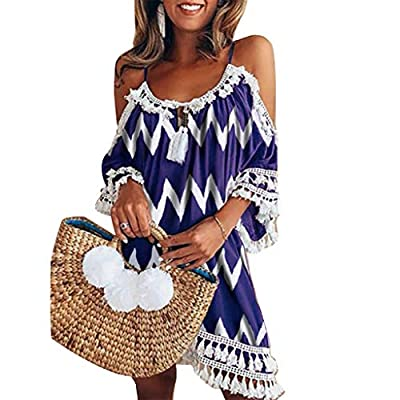 NEARTIME Womens Off Shoulder Dresses Fashion Tassel Short Skirts Casual Cocktail Beach Cover Ups Boho Sundress