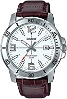 Casio men's white dial leather watch MTP-VD01L-7BVUDF