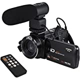 Andoer 1080P Camcorder WiFi Digital Video Camera Camcorder Full HD 24MP with External Microphone 3.0 Rotatable LCD Touchscreen Support LED Lamp 16X Digital Zoom Remote Control